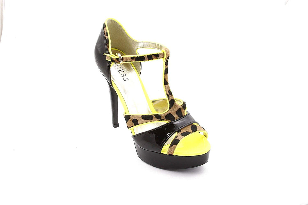 Guess Women's Korrinee Peep Toe Platform Pumps in Black Multi Size 8.5