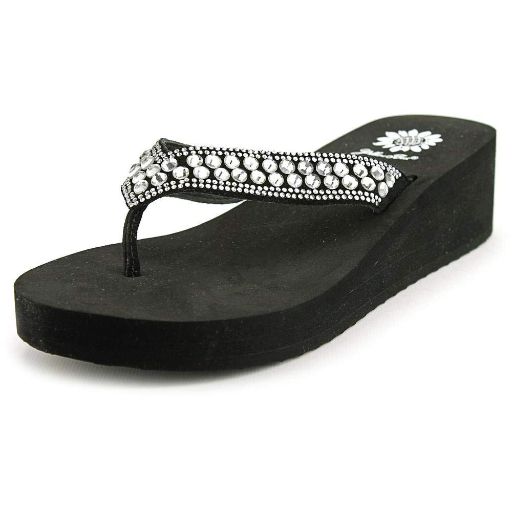 Yellow Box Sparrow Women US 7.5 Black Wedge Sandal
