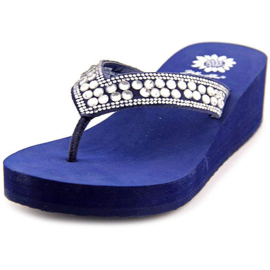 Yellow Box Sparrow Wedge Sandals Clear navy