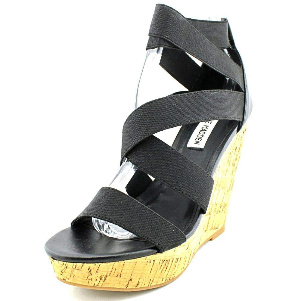 Steve Madden Abbby Women US 8.5 Black Wedge Sandal