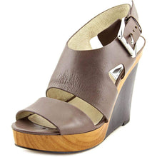 MICHAEL Michael Kors Womens Carla Platform Wedge Leather Open, Cinder, Size 9.5