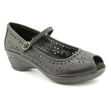 White Mountain Women's Motif Peep Toe Mary Jane Wedges in Black Size 8