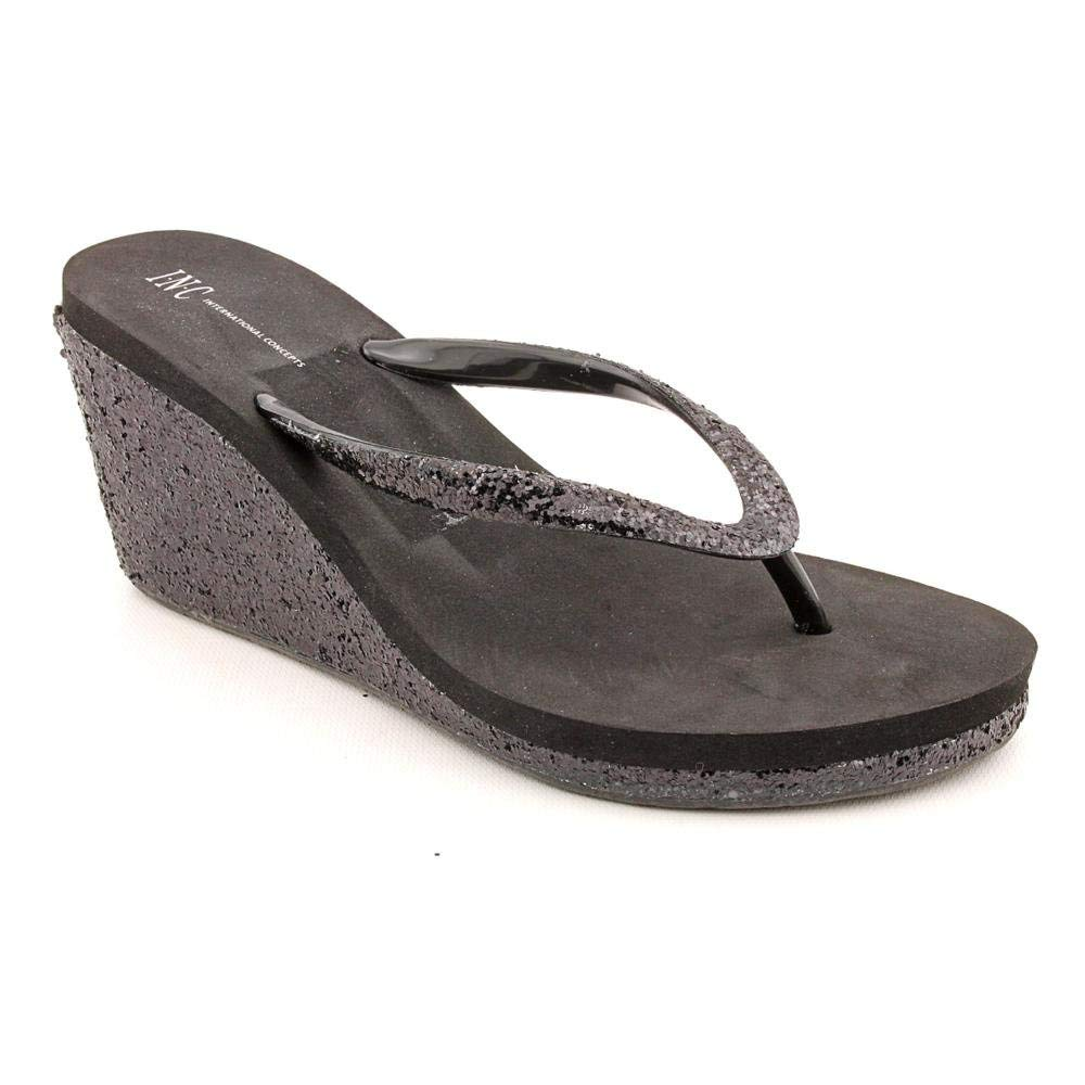 INC International Concepts Women's Olivia Wedge Sandals in Black Size 7