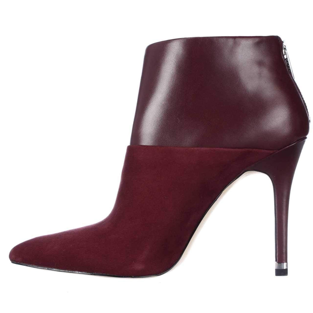 Michael Michael Kors Freya Bootie Women Pointed Toe Leather Burgundy Bootie