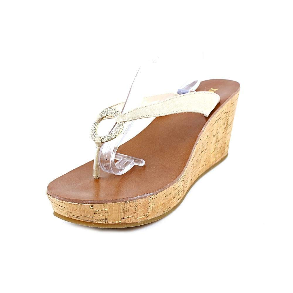XOXO Glitter Womens Size 8.5 Gold Nude Open Toe Textile Wedge Sandals Shoes