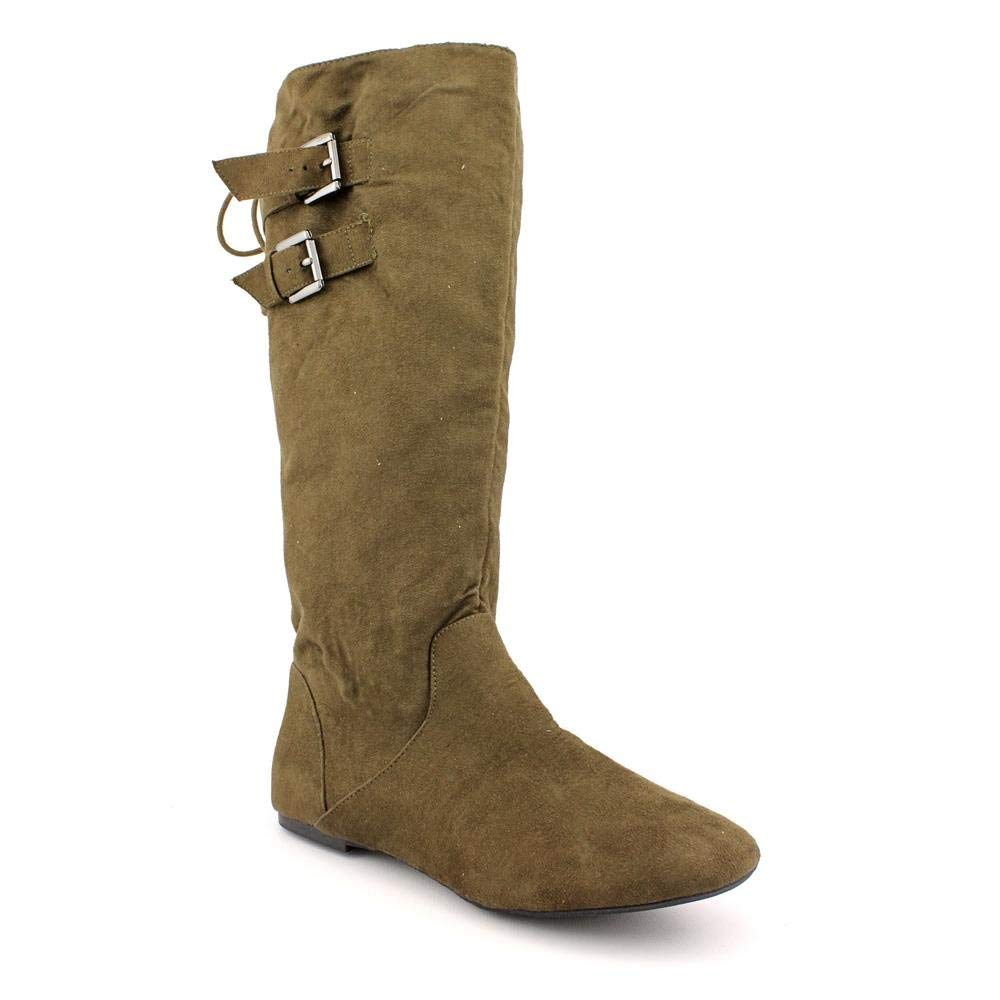 Material Girl Bonita Womens Pull On Mid Calf Boot Shoe Olive Green