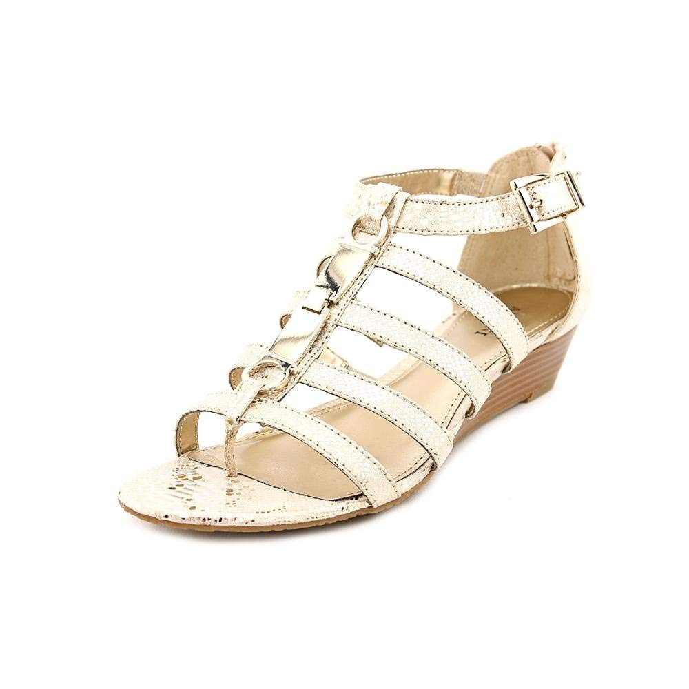 Vince Camuto Giada Womens Size 7.5 Gold Open Toe Wedge Sandals Shoes
