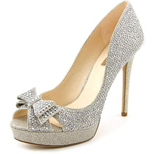 INC International Concepts Vernaa Rhinestone Bow Platform Pumps, Champagne, 7.5M