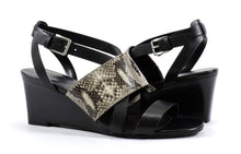 Cole Haan Women's Helena Snake Embossed Leather Wedge Sandal,Black/Rocchia,8 M US