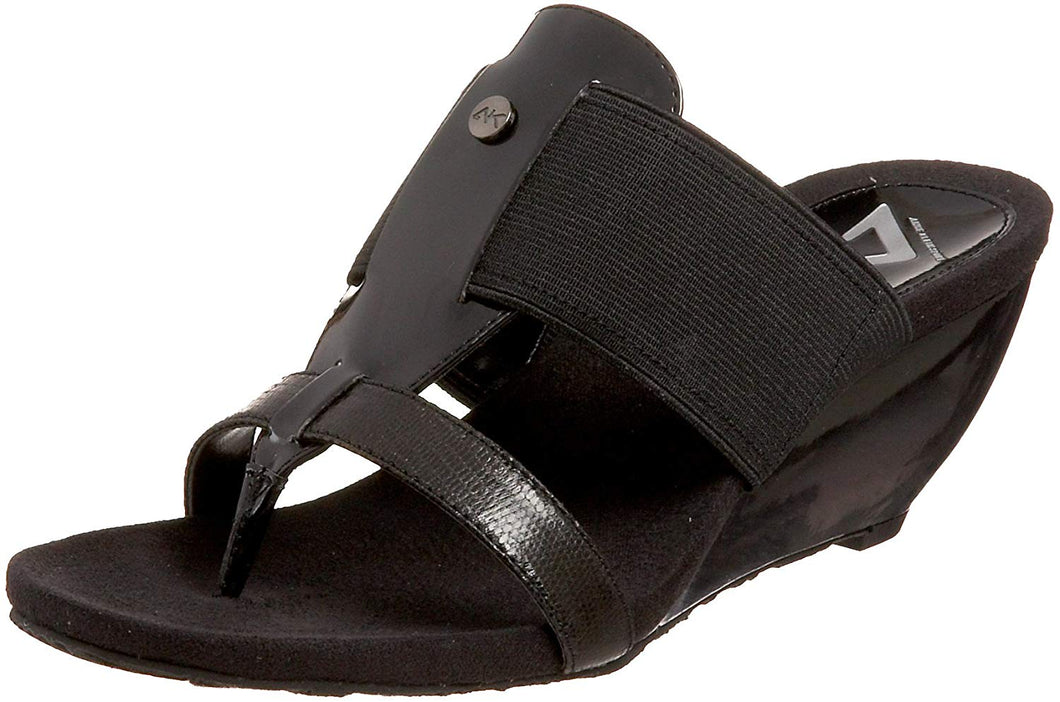Anne Klein Sport Women's Cissy Wedge Sandal,Black,10 M US
