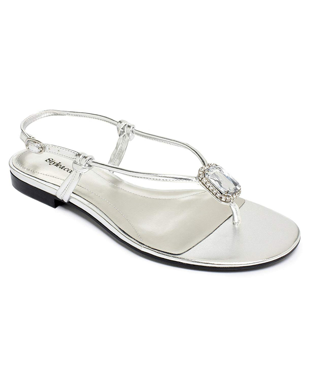 Style & Co. Size 6.5 M Womens Silver JUBILEE SILVER THONG STONE Sandals