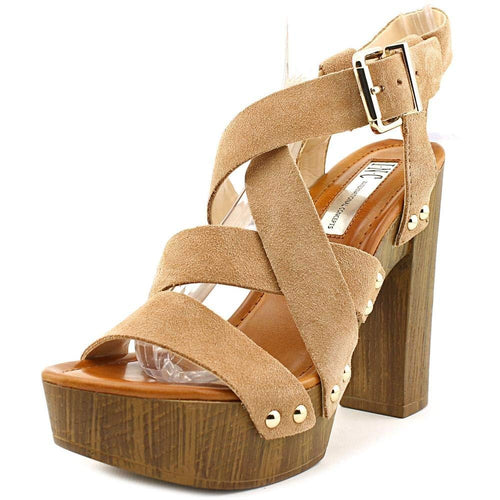 INC International Concepts Camira Women Open Toe Suede Tan Platform Sandal