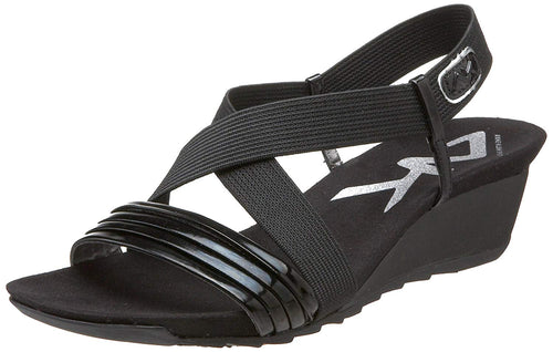 Anne Klein Sport Women's Spritzer Wedge Sandal,Black,10 M US