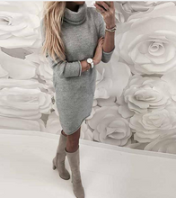 Autumn Party Dress Solid Long Sleeve*