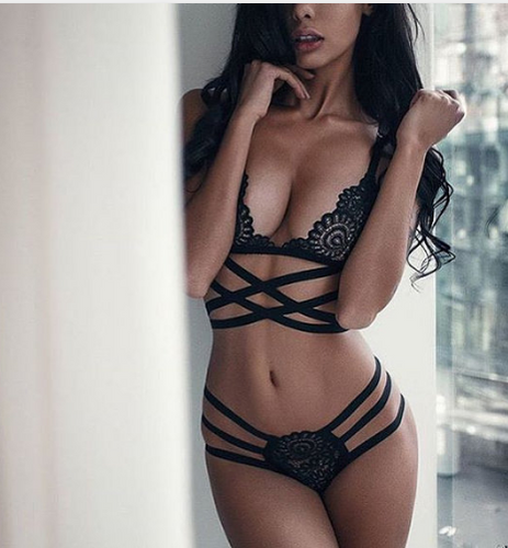 Bandage Cross Strap Hollow Lingerie Set