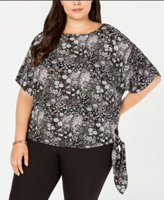 Michael Kors Plus Size Printed Side-Tie Top BlackGunmetal 1X