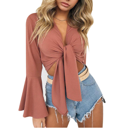 Women's Ruffles Blouse Deep V-neck