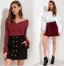 High Waist Double Button Fashion Skirts*
