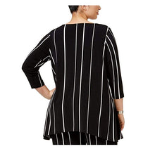 Alfani Womens Plus High-Low Striped Tunic Top Black 1X