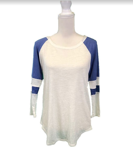 American Rag White/Blue 3/4 sleeve top-L