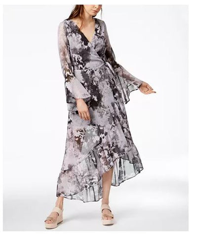 Bar III Asymmetrical Maxi Wrap Dress, XXS