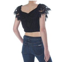 WAYF O-T-S Black Lace Cropped Top Small
