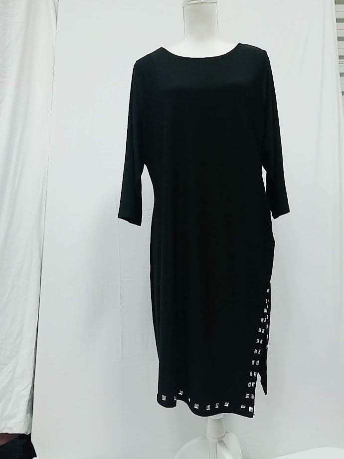 NY Collection Black Silky Dress 2X-NEW