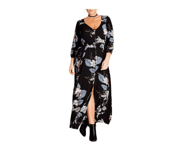 City Chic Floral Black Maxi Dress-18