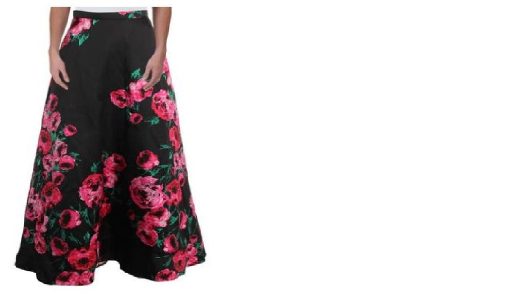 B.Darlin Juniors Satin Floral Print Maxi Skirt-1/2