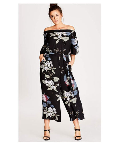 City Chic Floral Plus Size Jumpsuit Oriental - Size 14 / XS
