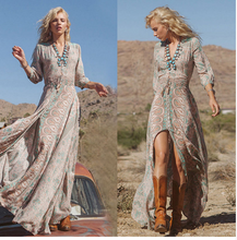 Womens Boho Chiffon Long Maxi Dress