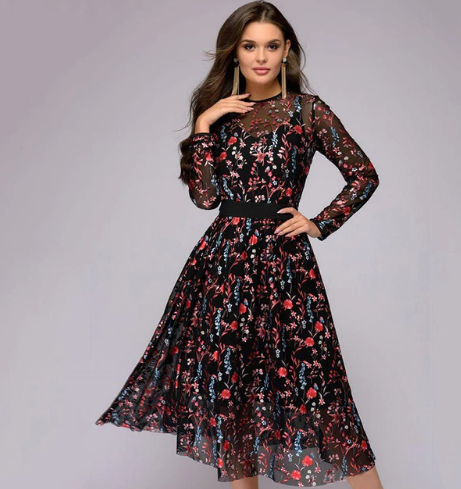 Floral Sheer Mesh Sexy Women's Boho Dress *