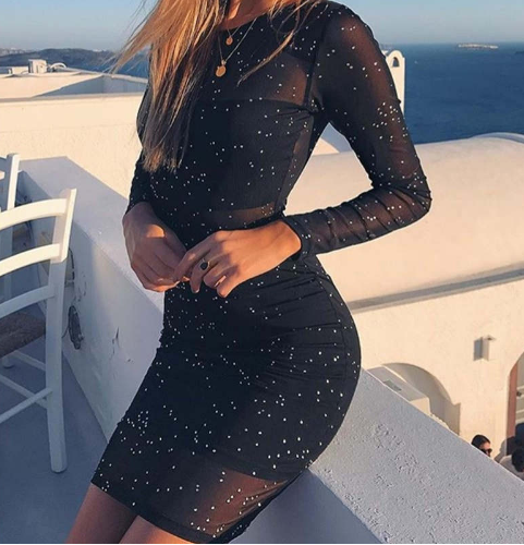 Long Sleeve Black Party Dress