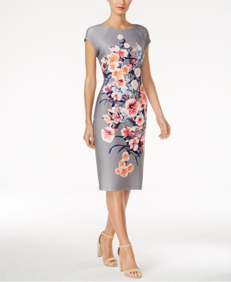ECI Grey Floral Scuba Sheath Dress SZ 4