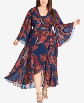 City Chic Trendy Plus Size Floral-Print Fire Bloom 14W