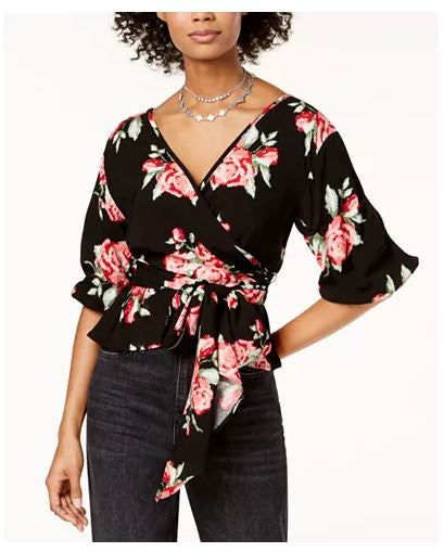 The Edit Juniors' Floral-Print Wrap Top-M