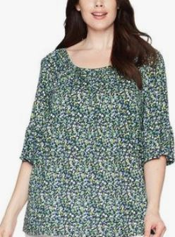 Michael Michael Kors Plus Size Printed Bell-Sleeve Top, 0X