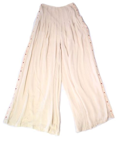 Free People Natural Beige Womens Elena Wide-Leg Pants, SZ 4