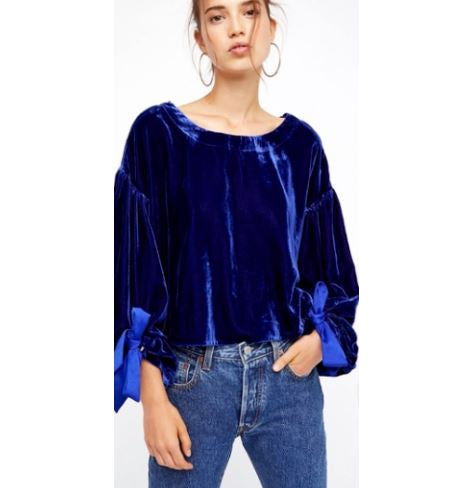 Free People Gimme Some Lovin' Velvet Top XS