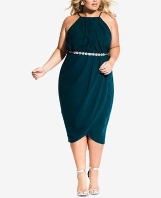 City Chic Plus Size Belted Faux-Wrap Dre Emerald