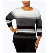 Karen Scott Knit Stripped Pullover-1X