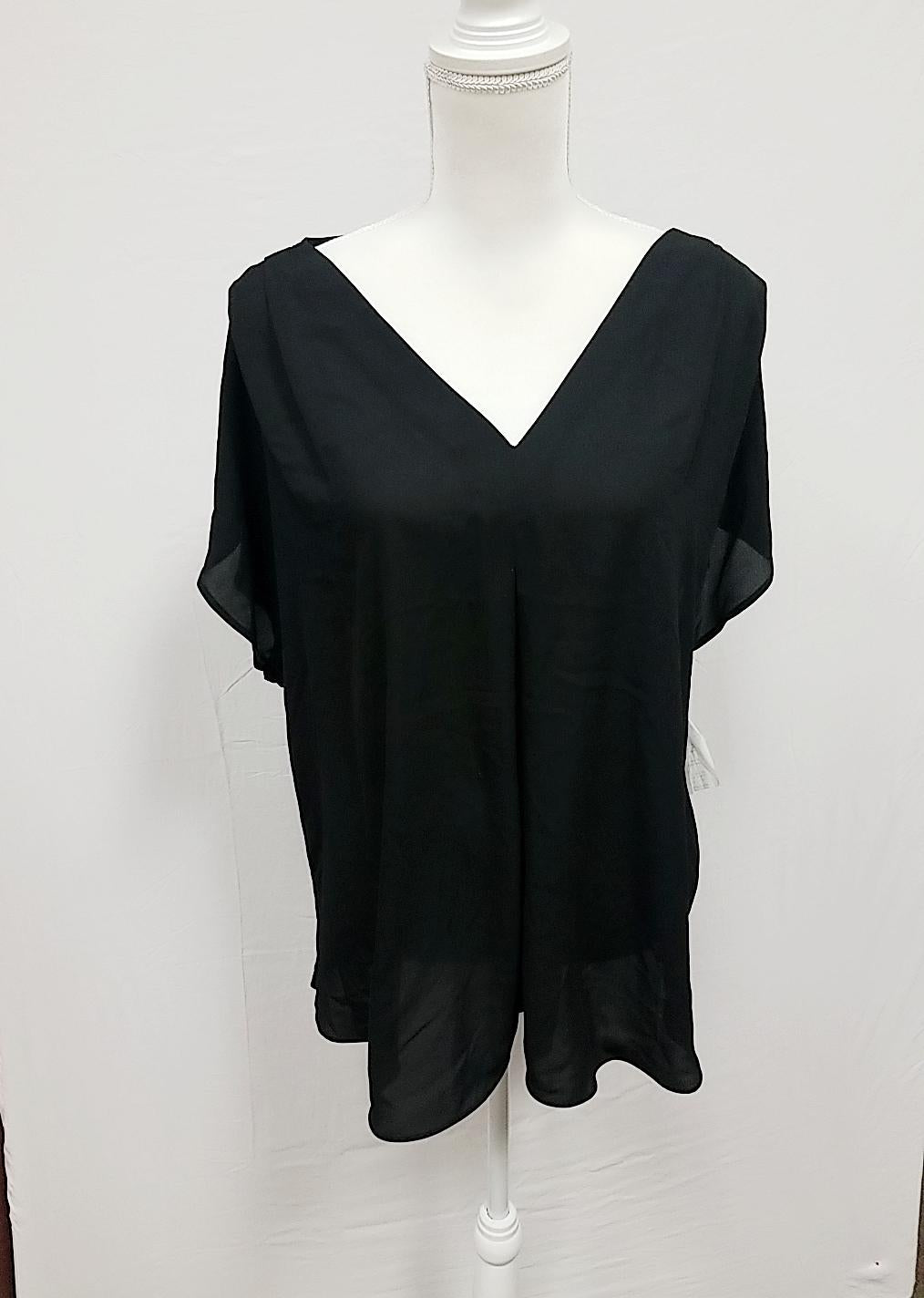 International Concepts Black Sheer Blouse 3X-NEW