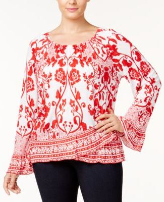 INC International Concepts Lace-Print Bell-Sleeve Top Blossoming Romance 3X