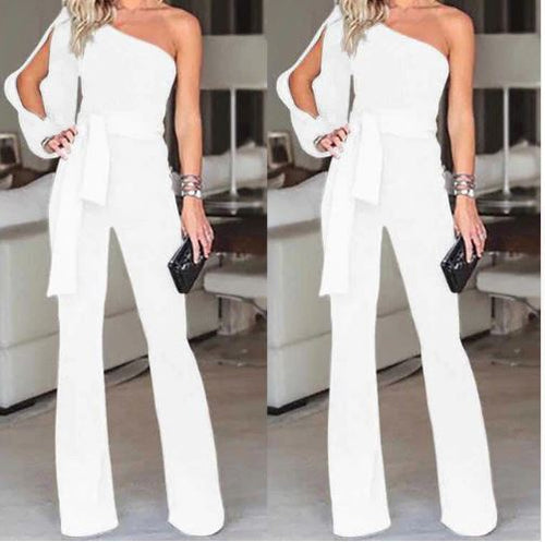 Wide Leg One Shoulder Jumpsuit*