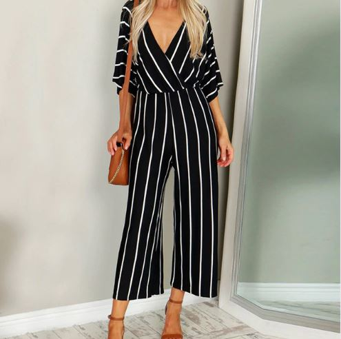 Striped Fashion V-Neck Jumpsuit*