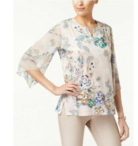 JM Collection women's Printed Chiffon-Sleeve Tunic-M