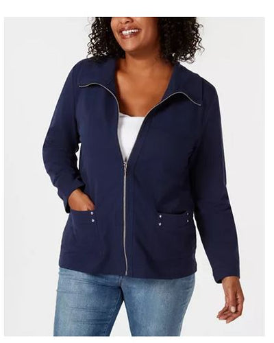 Karen Scott Plus Size Zip-Front Casual Kni Intrepid Blue 1X
