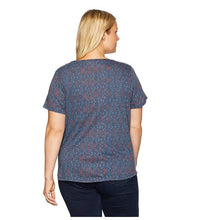 Lucky Brand Trendy Plus Size Printed T-Shi Navy Multi 1X