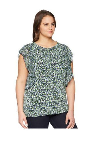Michael Kors Plus Size Tiny Wildflower Casade Top 2X