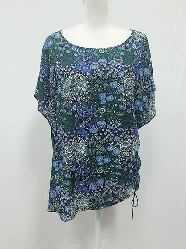 Michael Kors Green Floral Blouse 2X-NEW